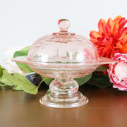 Pink Glass Footed Candy Dish With Glass Dome by Indiana Glass