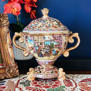 Rare Satsuma Gold Footed Urn With Handles
