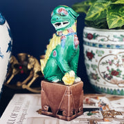 Single Multicolored Majolica Foo Dog