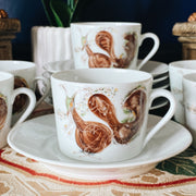 Snail French Bistro Coffee Cups And Saucers