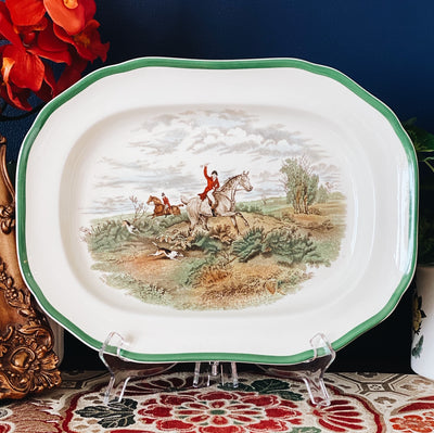 "12.5"" Spode Herring Hunt Oval Platter, Going To Halloa"