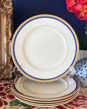 Mid-Century Bistro Style Gold Encrusted Salad Plates Set with Blue Band