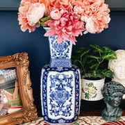 Tall Blue & White Square Chinoiserie Vase With Long Neck