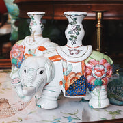 Tobacco Leaf Ceramic Elephant Candle Holders Set of 2