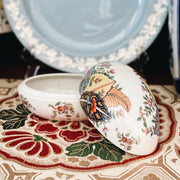 Tobacco Leaf Porcelain Egg Trinket Box