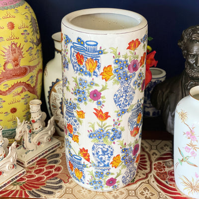 "Tall 18"" Porcelain Chinoiserie Umbrella Stand"