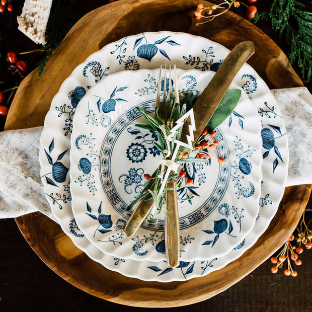 Christmas China Set; Blue Nordic Dinnerware Set by Johnson Brothers Ironstone