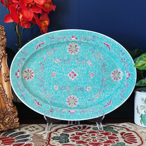 Vintage Chinese Turquoise Enamel Oval Platter