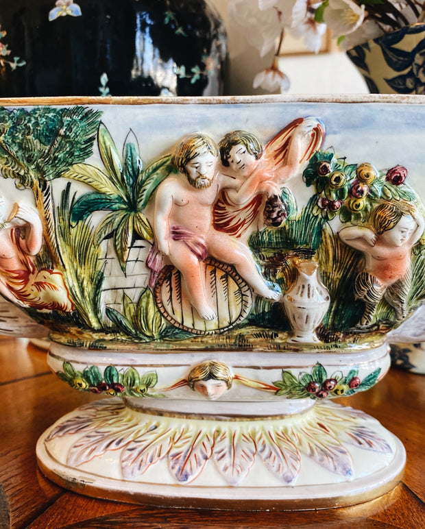 Vintage Italian Capodimonte Footed Bowl with Oblong Gold Luster
