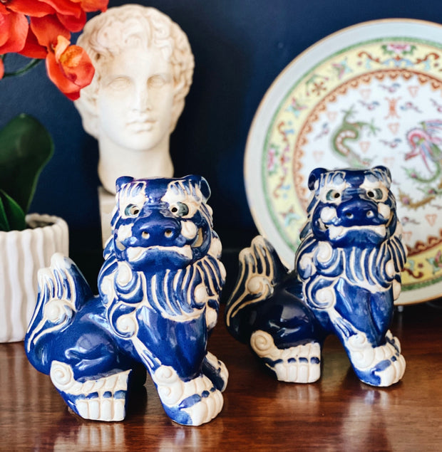 Vintage Majolica Blue and White Foo Dogs Pair