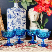 Vintage Japanese Blue Glass Dessert Footed Cups Set