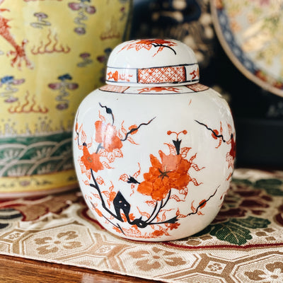 Vintage Orange Cherry Blossoms Ginger Jar Urn With Flat