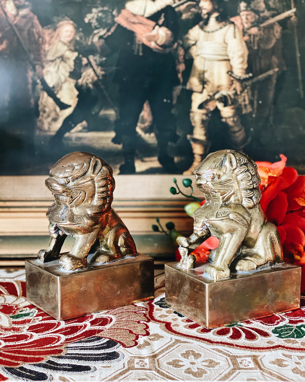 Vintage Pair Of Brass Foo Dog Bookends