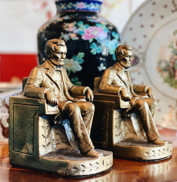 Vintage Pair of Abraham Lincoln Chalkware Figurine Bookends