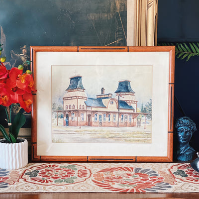 Framed Vintage Train Station Watercolor Painting