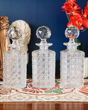Vintage Whiskey Glass Decanter Trio Set of 3