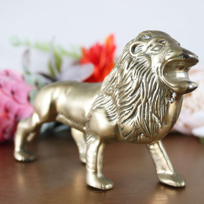 Vintage Brass Lion Figurine; Brass Animal Home Decor