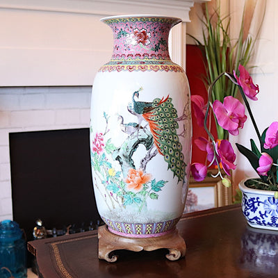 Vintage Chinoiserie Vase With Peacock & Chinese Characters