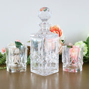 Vintage Crystal Decanter Set With 2 Rocks Glasses