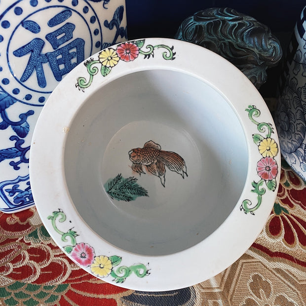 Vintage Famille Rose Medallion Small Fish Bowl Planter