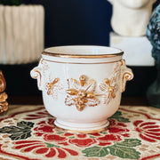 Small Italian White & Gold Cachepot