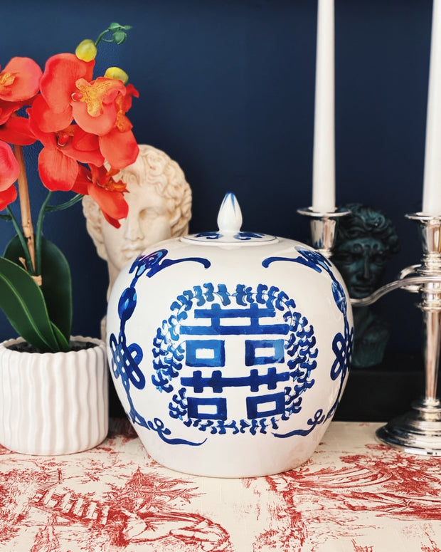 Blue and White Double Happiness Melon Jar