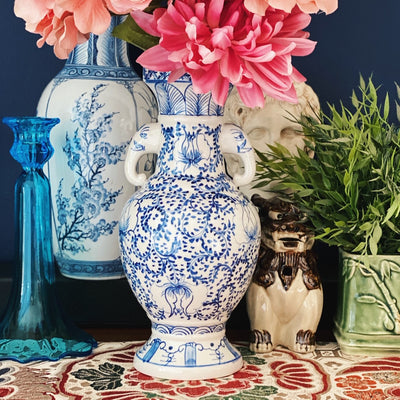 Blue & White Vase With Elephant Handles
