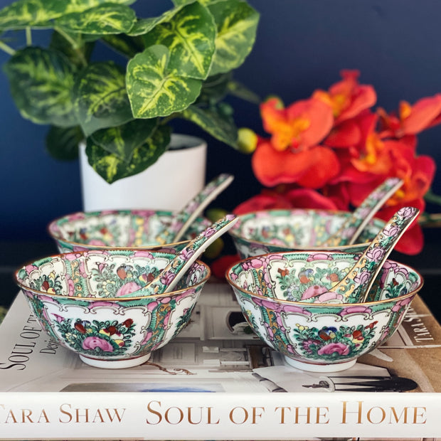 Famille Rose Canton Rice Bowls With Spoons