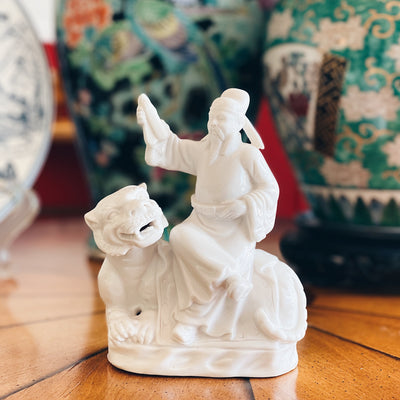 Chinese Dehua Blanc de Chine Porcelain Man on Tiger