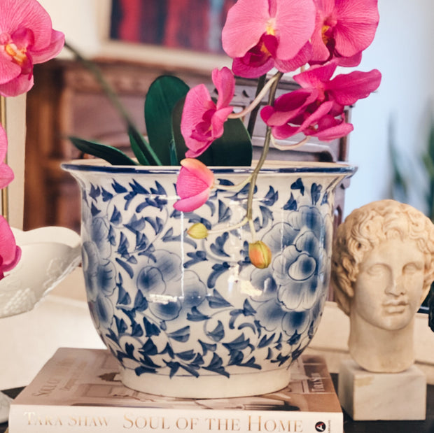Large Blue and White Chinoiserie Planter