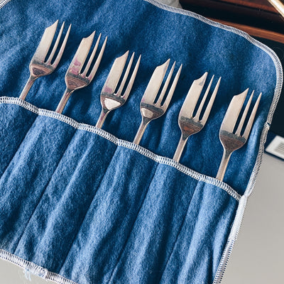 Silverplate English Pastry Forks Set