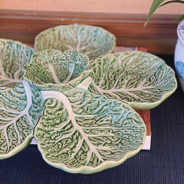 Bordallo Green Cabbage Leaf Appetizer Mix Serving Tray
