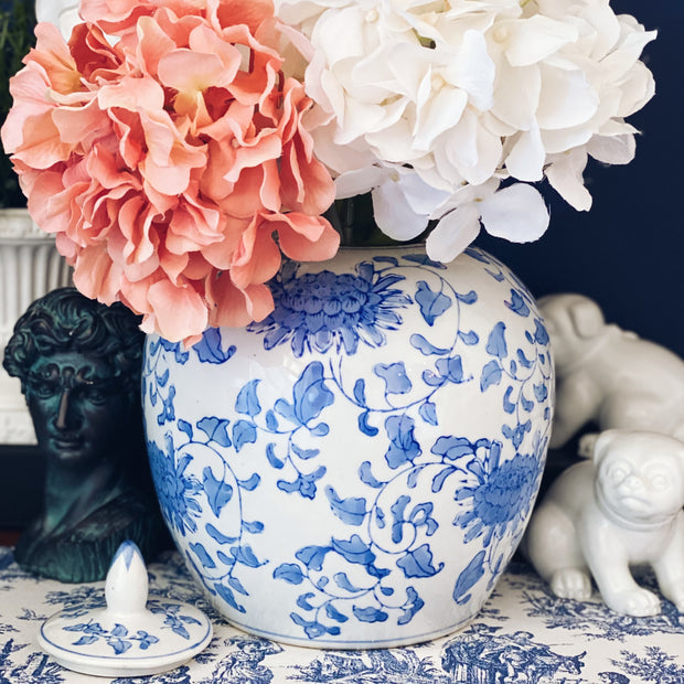 Large Chinoiserie Blue & White Melon Jar With Lid