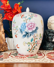 "Large 12"" Floral Melon Jar With Lid"