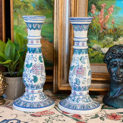 Chinese Pink & Green Porcelain Candlestick Holders
