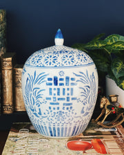 Blue & White Double Happiness Melon Jar