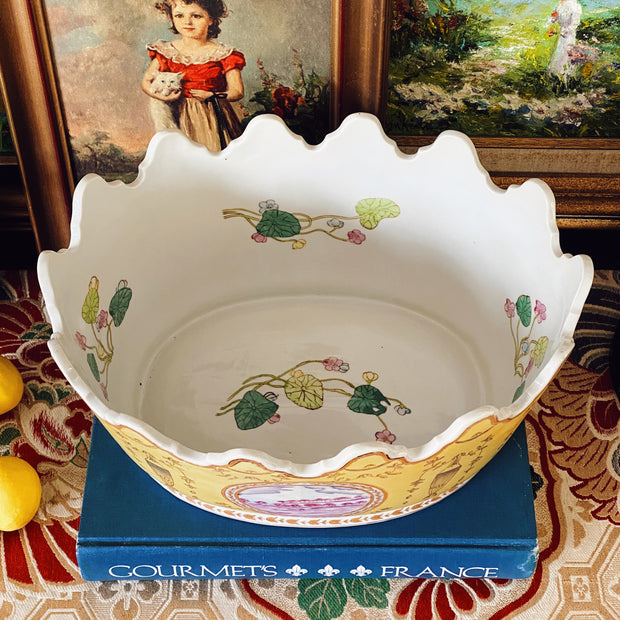 Yellow French Faience Jardiniere With Lion Heads