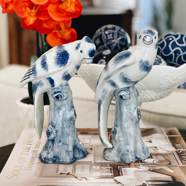 Pair Of Blue And White Perched Parrot Figurines