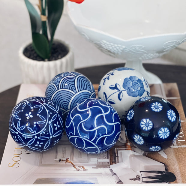 Vintage Blue & White Porcelain Carpet Balls Set Of 5