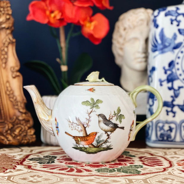Herend Rothschild Bird Teapot With Rose, Small