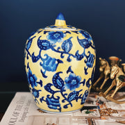 Vintage Yellow & Blue Vintage Ginger Jar