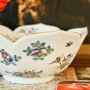 Chinoiserie White Floral Lotus Bowl