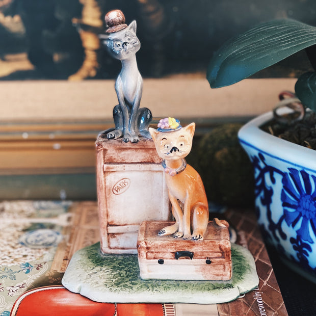 Vintage Parisian Cat Figurines Made In Italy