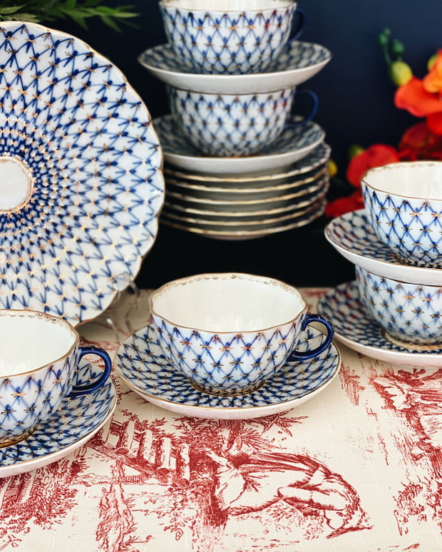 Vintage 20-Piece Lomonosov Cobalt Net Blue Tea Set