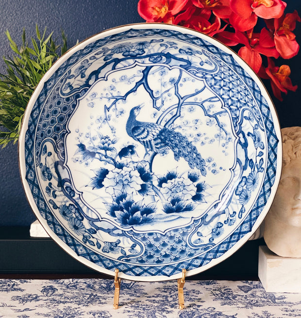 Large Japanese Blue & White Peacock Bowl