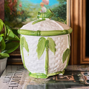 Green Bamboo Porcelain Lidded Cookie Jar