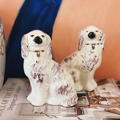 Pair Of Purple English Staffordshire Dog Figurines