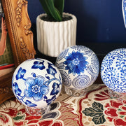 Large Blue & White Porcelain Carpet Balls