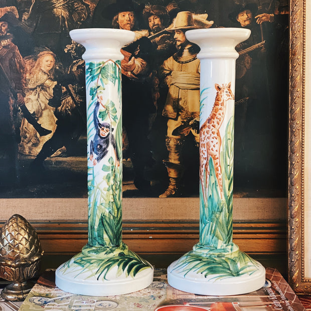 "12"" Italian Hand-Painted Jungle Faience Candlesticks"