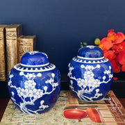 Pair Of Vintage Chinese Blue Cherry Blossom Ginger Jars
